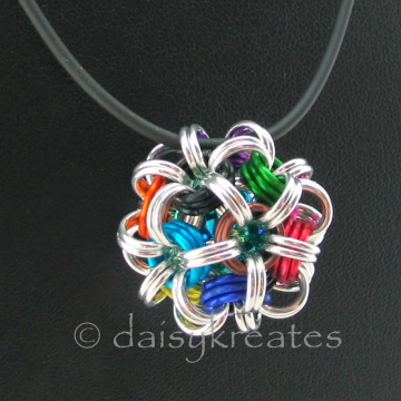 Multicolor Chainmaille Temari Pendant on 24-inch Black Rubber Cord Necklace