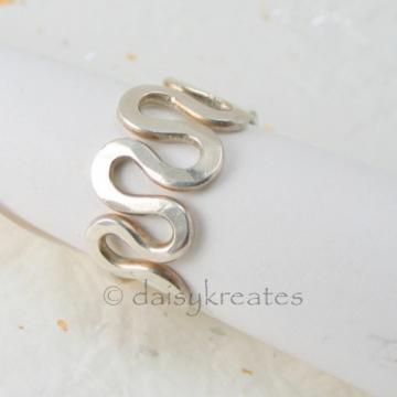 Sterling Silver Freeform Squiggle Adjustable Finger Ring
