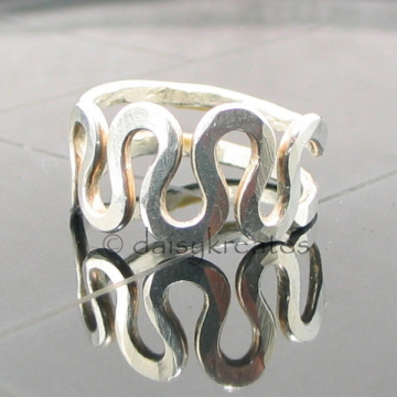 Sterling Silver Freeform Squiggle Adjustable Finger Ring