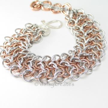 Silver Bronze Two Tone Elf Sheet Chainmaille Bracelet