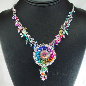 Rainbow Ranunculus Necklace