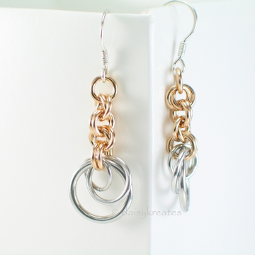 Silver and Gold Tone Tea Rose Earrings with Sterling Silver French Ear Wires