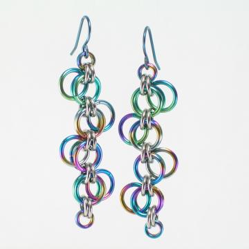 Multicolor Niobium Forget-Me-Not Earrings