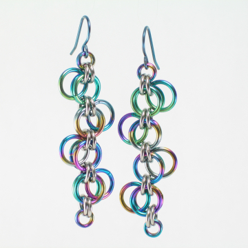 Multicolor Niobium Forget-Me-Not Earrings