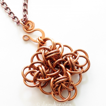 Copper Chainmaille Persephone Square Pendant on 32-Inch Long Necklace