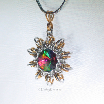 Byzantine Sun Pendant with Captured 18mm Swarovski Rivoli in Vitrail Medium