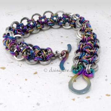 Japanese Lace Bracelet in Stainless Steel, Nioibum with Koru Clasp