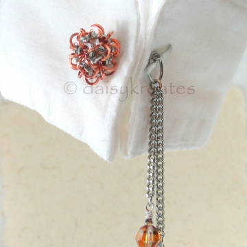 Chainmaille Temari Cuff Links in Stainless Steel and Copper