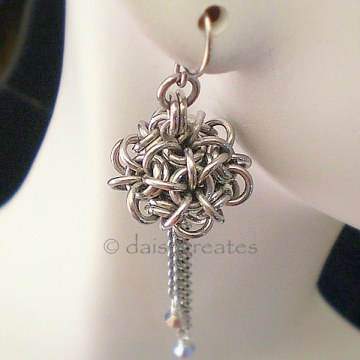 Temari Chainmaille Earrings in Silver Monochrome