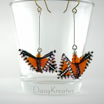 Monarch Butterfly Earrings in Orange and Black with Hypoallergenic Niobium Ear wires