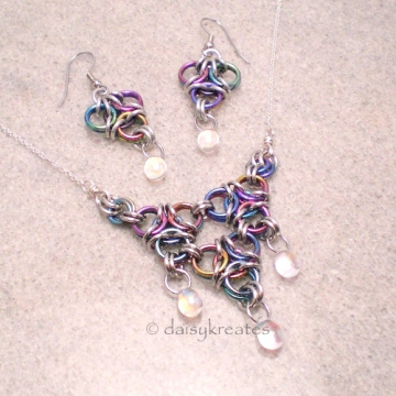 Rainbow Niobium Aura Necklace and Earrings Set