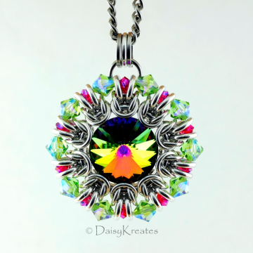 Helios Sunburst Medallion Pendant with Swarovski Green and Red Crystals
