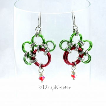 Rudolf's PawPrints Earrings in Christmas Red Green with Swarovski Dangles
