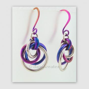 Tea Rose Mobius Earrings in Sterling Silver and Purple Niobium