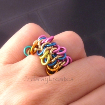 Multicolor Ruffle Chainmaille Finger Ring