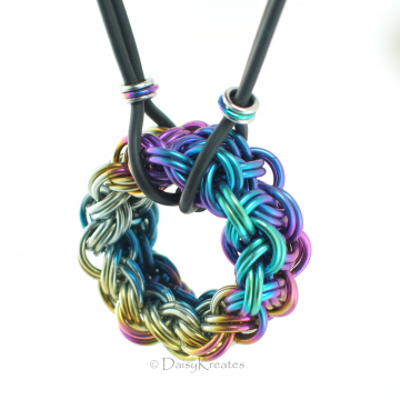 "Rainbow Sprinkles Chainmaille Donut Pendant in Anodized Niobium on 22"" Rubber Cord Necklace"