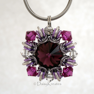 Purple Winter Carnival Square Pendant with Fancy Swarovski Stone and Ornate Crystal Beads Surround